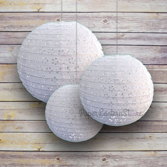 Quasimoon 6 8 10 White Eyelet Lace Look Round Paper Lanterns Even Ribbing 3 Pack Cer By Paperlantern