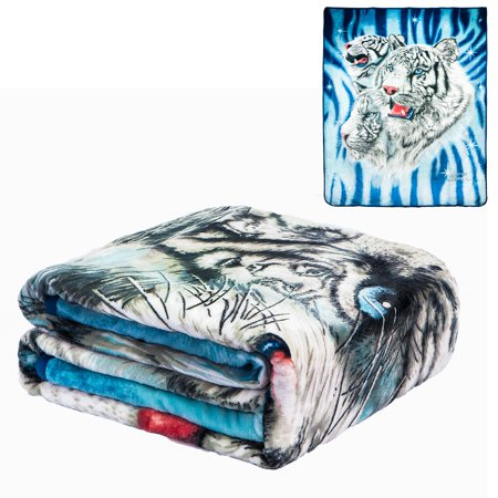 Flannel Fleece Plush Blanket - 9 White Tigers - QUEEN BED 79