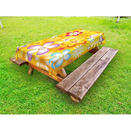 Floral Outdoor Tablecloth, Abstract Graphic Flowers ...