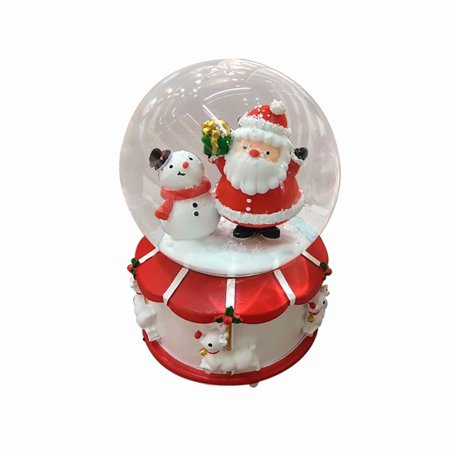 Akoyovwerve Christmas Musical Snow Globe Floating Snow Ball with music Table Top Decoration, Santa Claus & Snowman