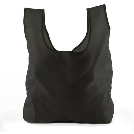 Reusable Grocery Bags | Foldable w/ Integrated String Pouch | Ripstop Nylon Tote - Black (Neiman Marcus Nylon Tote)