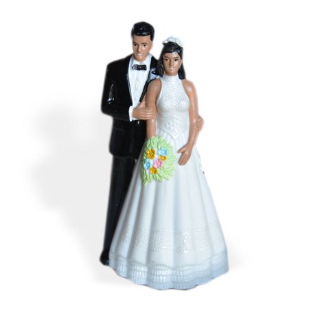 Vintage Style Bride and Groom Wedding Cake Topper Dark Skin Black Hair - Brunette Bride Cake Topper