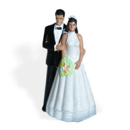 Pearl Wedding Cake - Vintage Style Bride and Groom Wedding Cake Topper Dark Skin Black Hair
