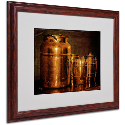 "Trademark Fine Art ""Copper Jugs"" by Lois Bryan, Wood Frame"