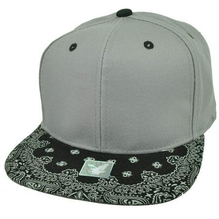 f02e5e918d6 Gray Black Bandana Print Pattern Flat Bill Hat Cap Snapback Plain Blank  Solid - Walmart.com