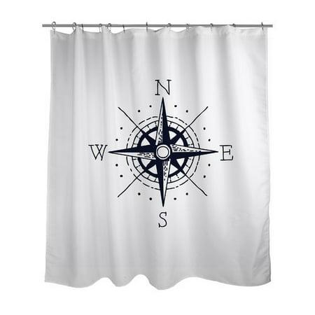 Ziya Blue Nautical Compass Shower Curtain