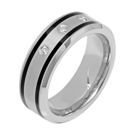 Men's Tungsten and Black Resin 8MM Diamond Accent Wedding Band - Mens