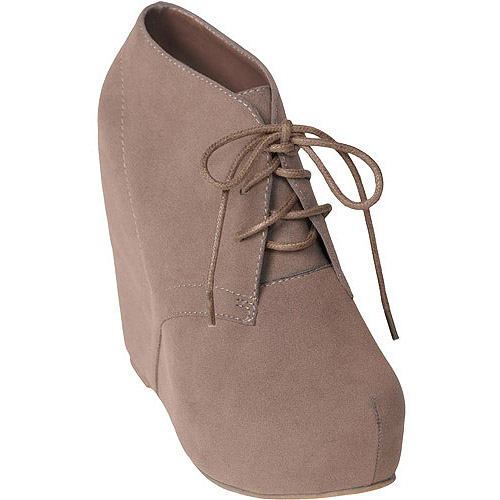 Brinley Co Women's Lace-up Wedge Booties