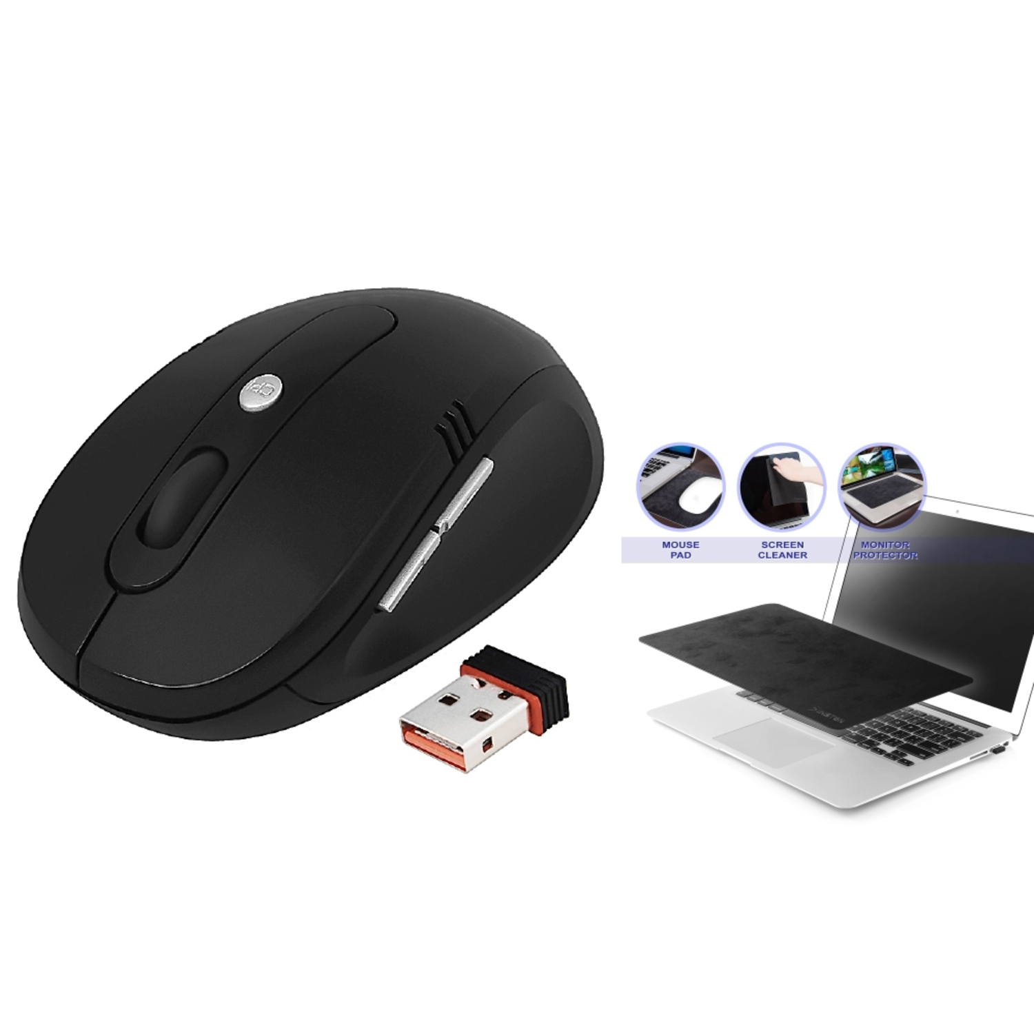 "Insten Black 2.4GHz Wireless Optical Mouse with Nano Receiver + Multi-functional Mouse Pad (10.8 x 6.3"")"