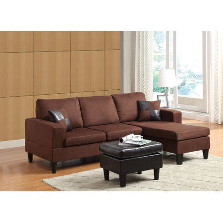 Acme Robyn Reversible Sectional Sofa With Ottoman   2 Pillows  Chocolate Microfiber   Espresso Pu