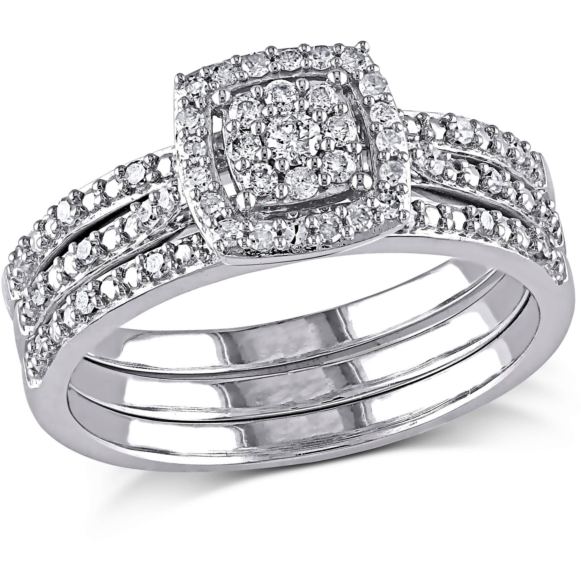 Miabella 1 3 Carat Diamond 10kt White Gold Halo Bridal Set by Delmar Manufacturing LLC