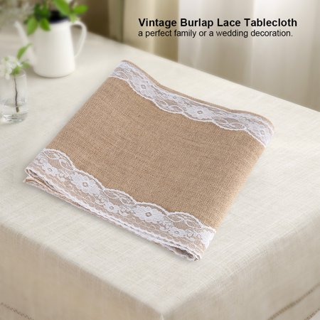 TOPINCN Vintage Burlap Lace Tablecloth Table Runner Rustic Natural Wedding Party Decoration,Burlap Tablecloth