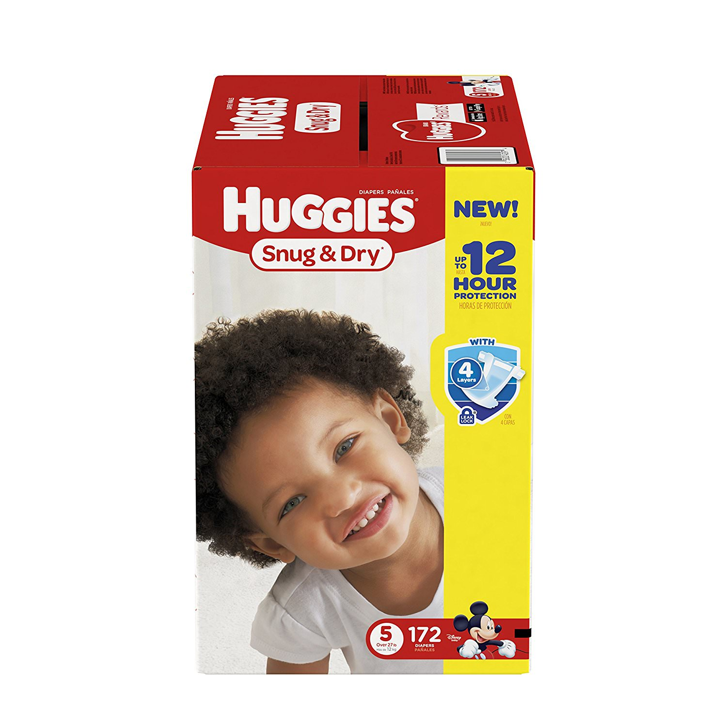 HUGGIES Snug & Dry Diapers, Size 5, for Over 27 lbs., One Month Supply (172 Count) of Baby Diapers, Packaging May Vary