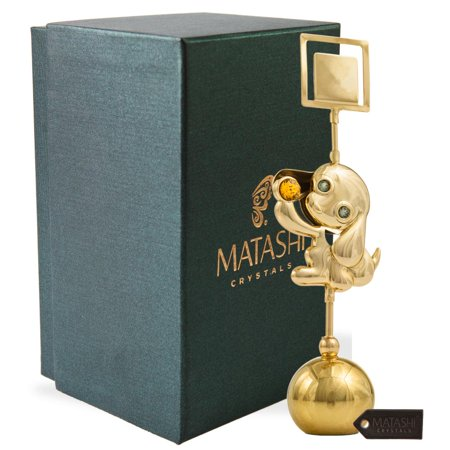 2018 Year of the Dog 24k Gold Plated Puppy Card Holder w/ Gold Crystal Inlay Holds Pictures, Notes, Messages | Elegant Table Top Ornament And Memory Keeper | Metal Dog Figurine by Matashi