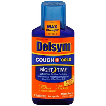 Delsym Adult Night Time Cough And Cold Liquid  Mixed Berry Flavor  6 Oz