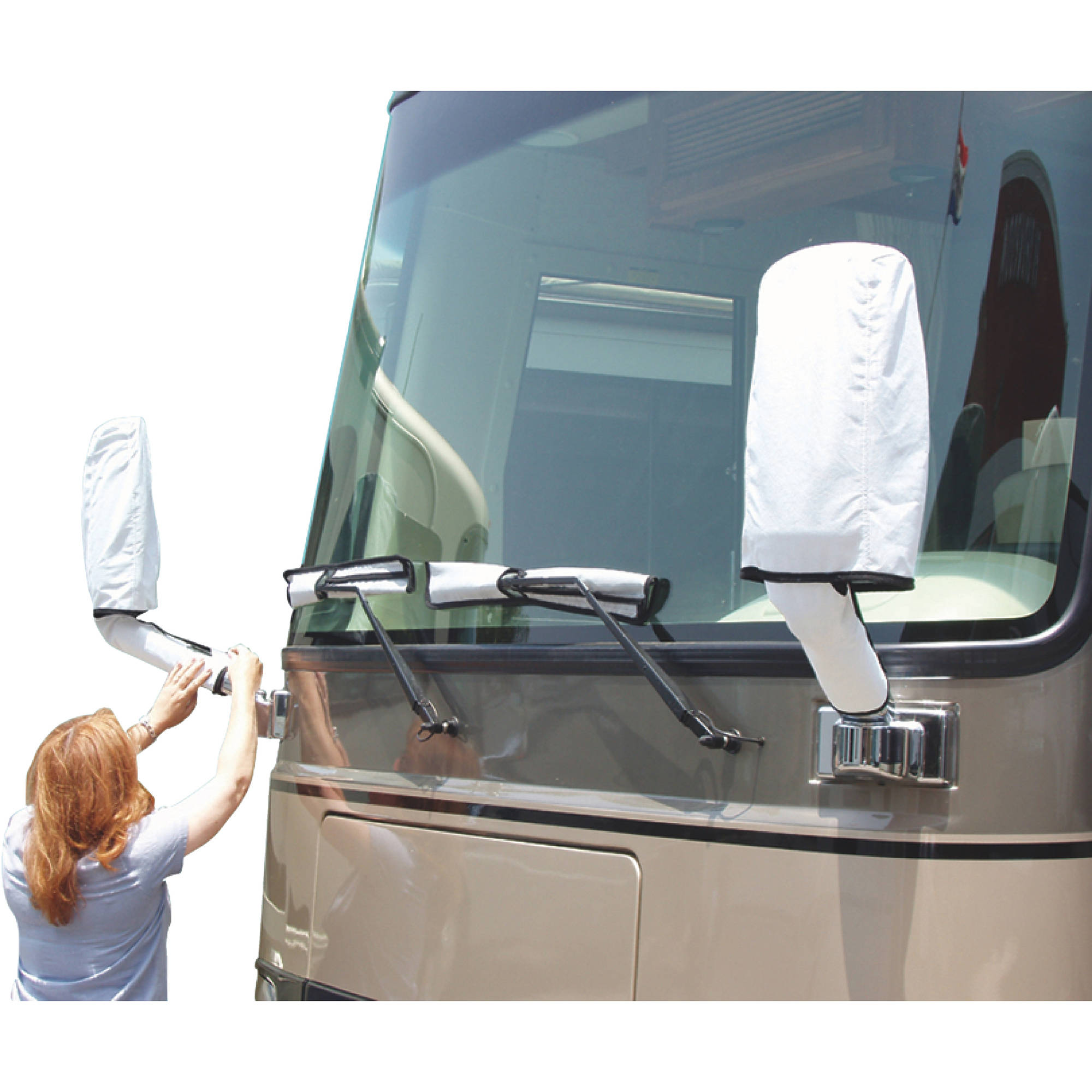 ADCO Dupont Tyvek RV Side Mirror and Windshield Wiper Covers With Storage Cover, White With Black Border