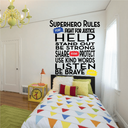Super Hero Rules Wall Decal - Vinyl Decal - Car Decal - Vdcolor014 - 25 Inches](Superhero Wall Decals)
