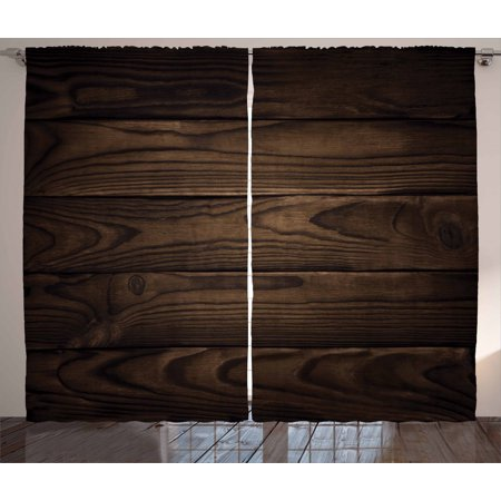 Chocolate Curtains 2 Panels Set, Vintage Rustic Illustration of Detailed Hardwood Floor Design Carpentry Themed Pattern, Window Drapes for Living Room Bedroom, 108W X 90L Inches, Brown, by Ambesonne Hardwood Floor Panel