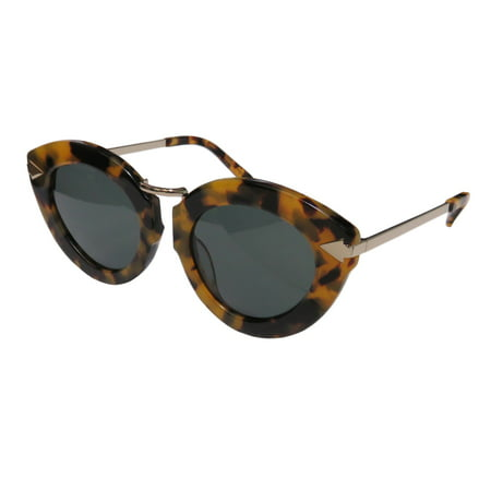New Karen Walker Luner Flowerpatch Womens/Ladies Cat Eye Full-Rim 100% UVA & UVB Tortoise / Gold Cat Eyes Spectacular Modern Shades Frame Green Lenses (Karen Walker Black Sunglasses)