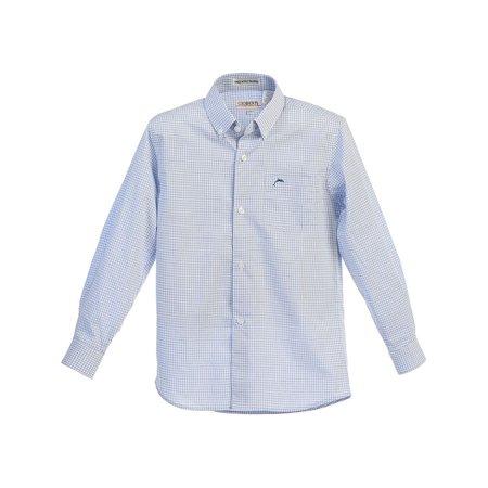 Gioberti Little Boys White Blue Plaid Button-Up Long Sleeve Dress Shirt 4-7