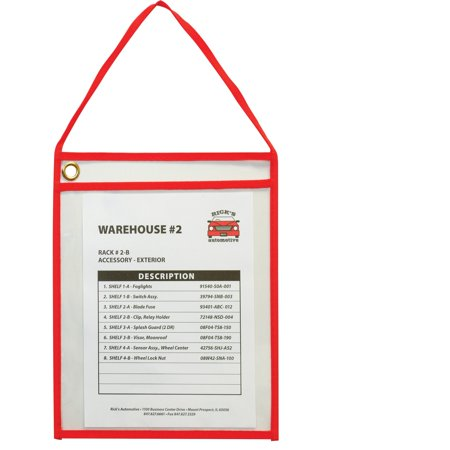 C-Line, CLI41924, Hanging Strap Shop Ticket Holder, 15 / Box, Red,Clear Red Ticket Holder