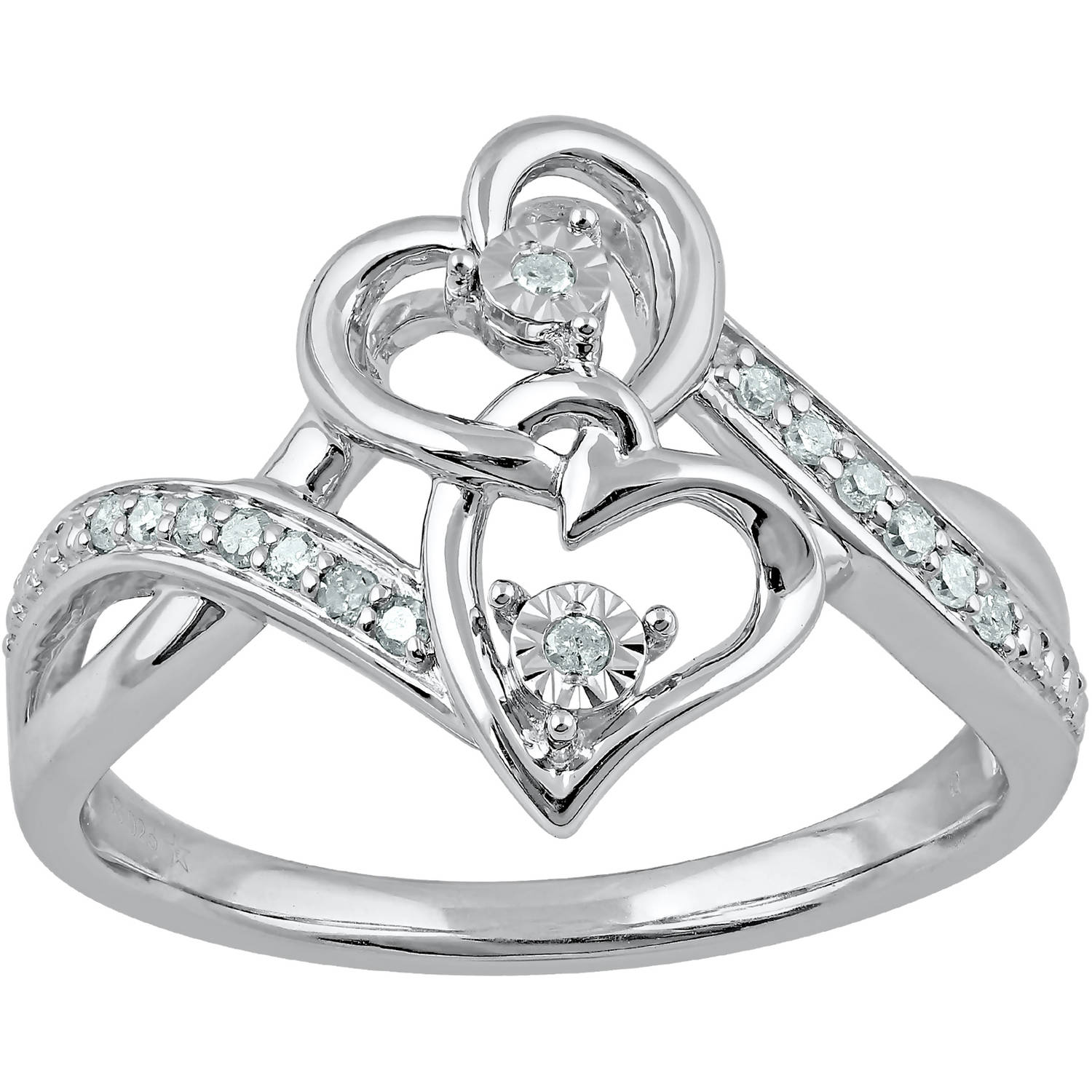 Heart 2 Heart 1/10 Carat T.W. Diamond Sterling Silver Heart Ring