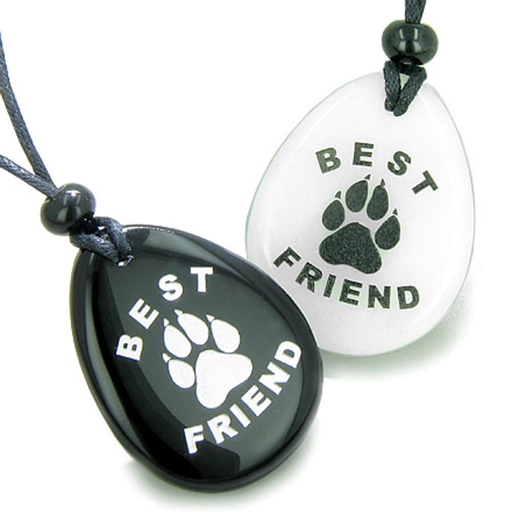 Lucky Best Friends Wolf Paw White Quartz and Black Agate Friendship Pendant Necklaces