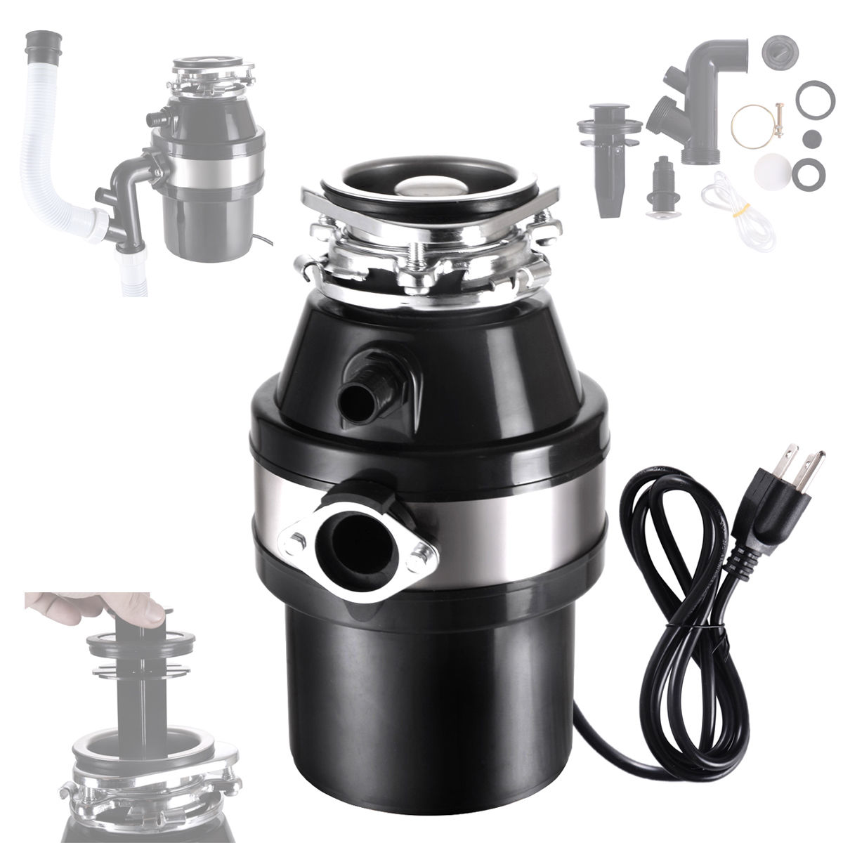 1.0 HP Continuous Feed Garbage Disposal Home Kitchen Food Waste w/ Plug 2800 RPM