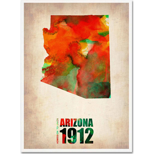 "Trademark Fine Art ""Arizona Watercolor Map"" Canvas Art by Naxart"
