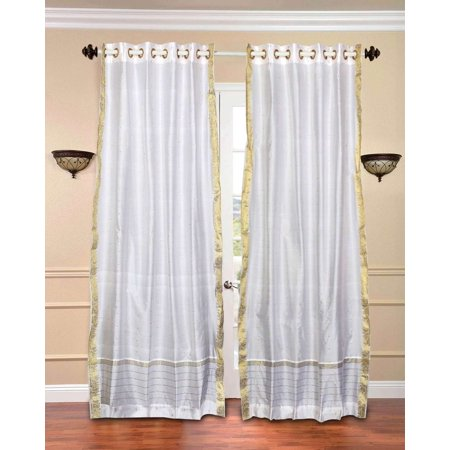 White with Golden Trim Ring Top  Sheer Sari Curtain / Drape / Panel  - Piece ()