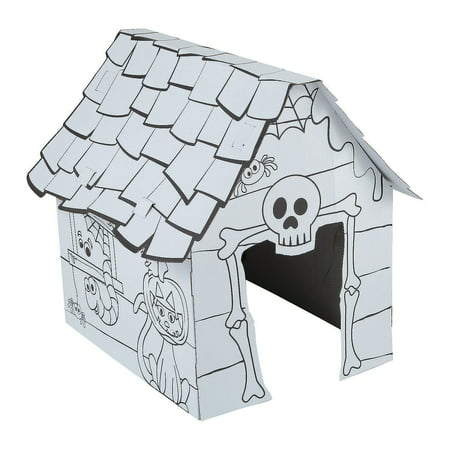 Fun Express - Cyo 3d Haunted House Playhouse 1pc for Halloween - Craft Kits - CYO - Paper - Misc CYO - Paper - Halloween - 1 Piece (Halloween Paper Crafts For Toddlers)