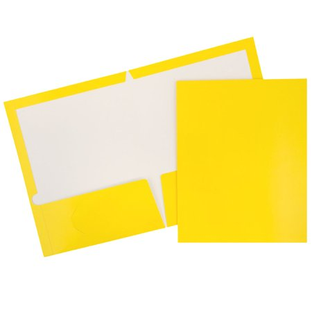 2 Pocket Folders Bulk (JAM Paper Glossy Two Pocket Presentation Folder, Yellow,)