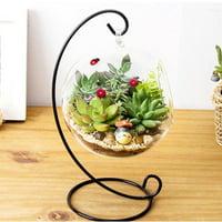 Transparent Hanging Glass Vase,Large Terrarium with Frame for Air Plants Succulent Planters, Planters Glass Vase,Hanging Glass Vase