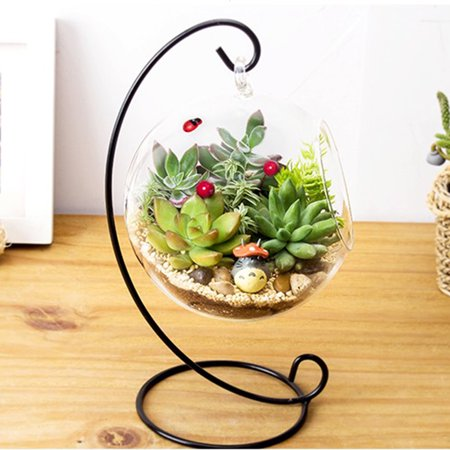 Transparent Hanging Glass Vase,Large Terrarium with Frame for Air Plants Succulent Planters, Planters Glass Vase,Hanging Glass