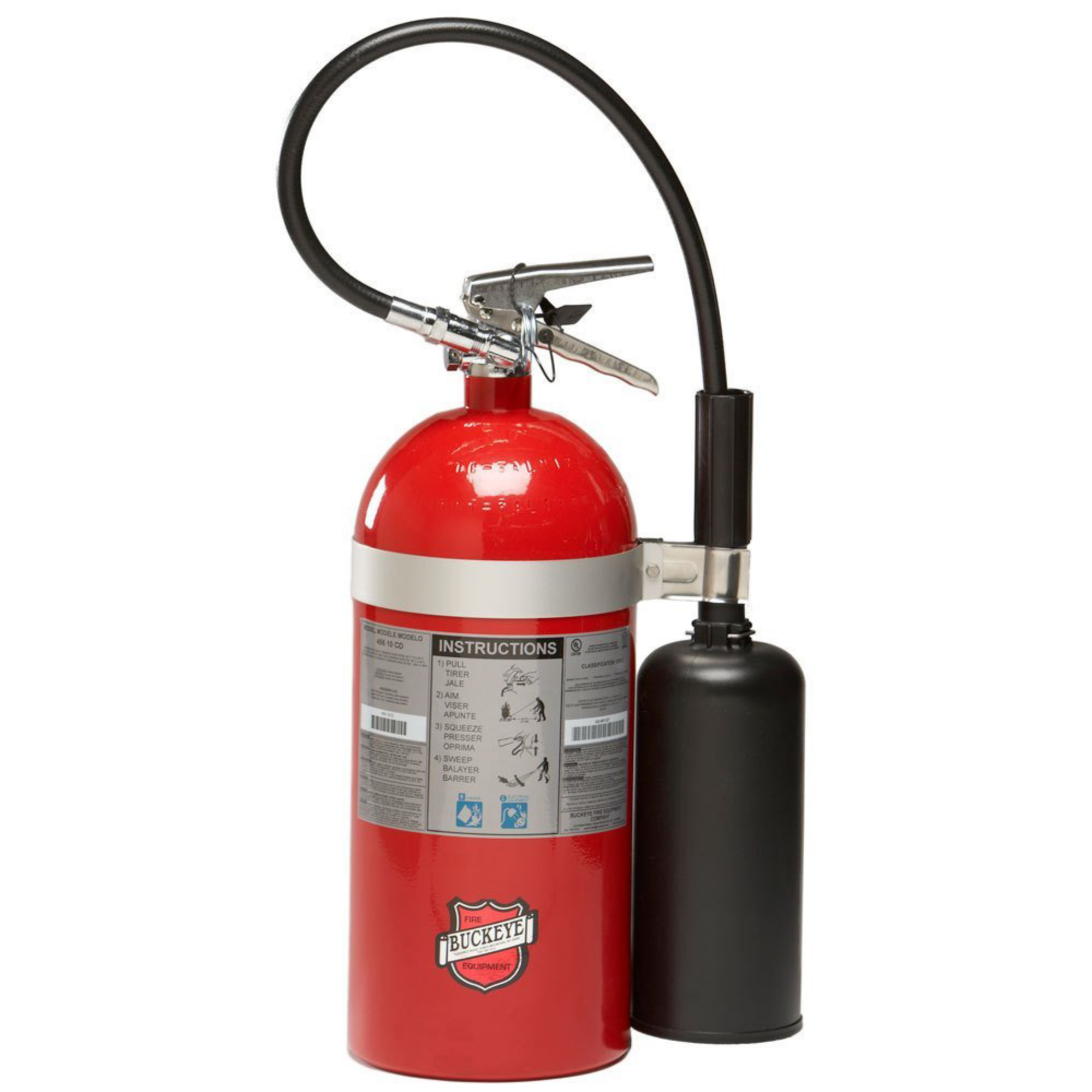 Buckeye, Fire Extinguisher, 10 lb BC Fire Extinguisher, CO2, Carbon Dioxide, Commercial Fire Extinguisher, Aluminum Valve, Wall Bracket, 45600, Monthly Record Tag, Great for Electronics