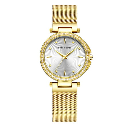 Womens Quartz Watch Gold Steel Mesh Belt Crystal Bezel Special Charming for Friends Lovers Best Holiday Gift (Best Ftxj Popular Watches)