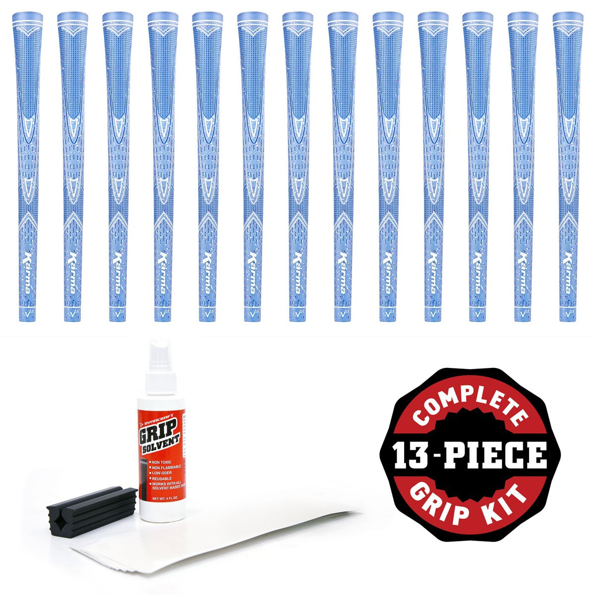Karma Light Blue Sparkle  - 13 pc Golf Grip Kit (with tape, solvent, vise clamp)