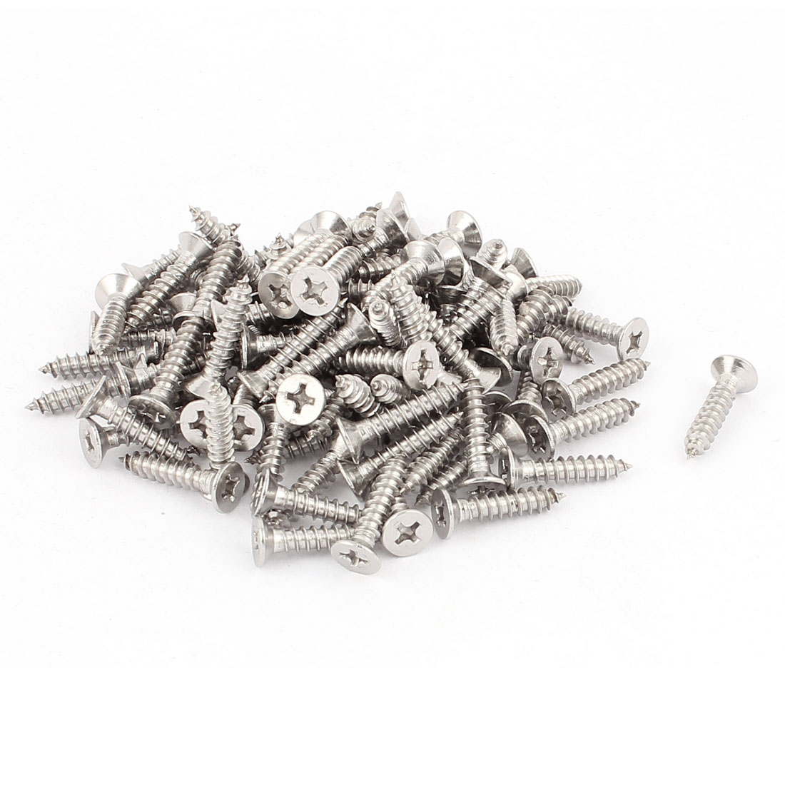 3.9mmx19mm Stainless Steel Flat Head Phillips Self Tapping Screw 100 Pcs