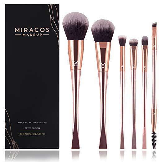 71bb3d91ae04 MIRACOS Cosmetic Makeup Brush Set Oval Powder Brush, Blush Brush, Eye  Shadow Brush, Blend Brush, Concealer Brush and Dual End Eyeliner & Brow  Brush-6 ...