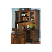 2 Pc Madison Traditional Computer Desk w Glass Door Hutch Set