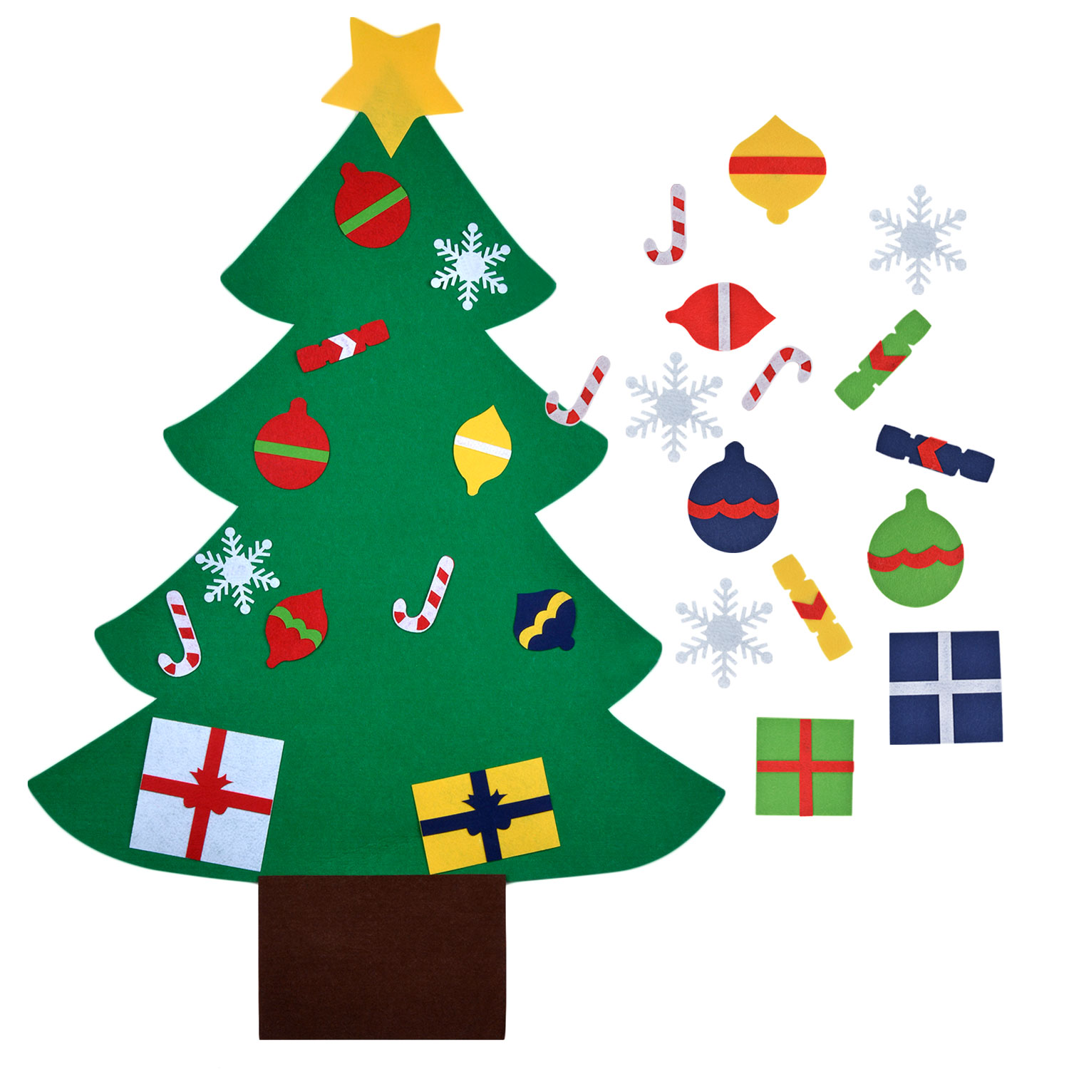 Wall Decor, Outgeek Christmas Game DIY Felt Christmas Tree Kids Educational Toy with Hanging Rope Party Home Accessories Supplies Decorations Ornaments