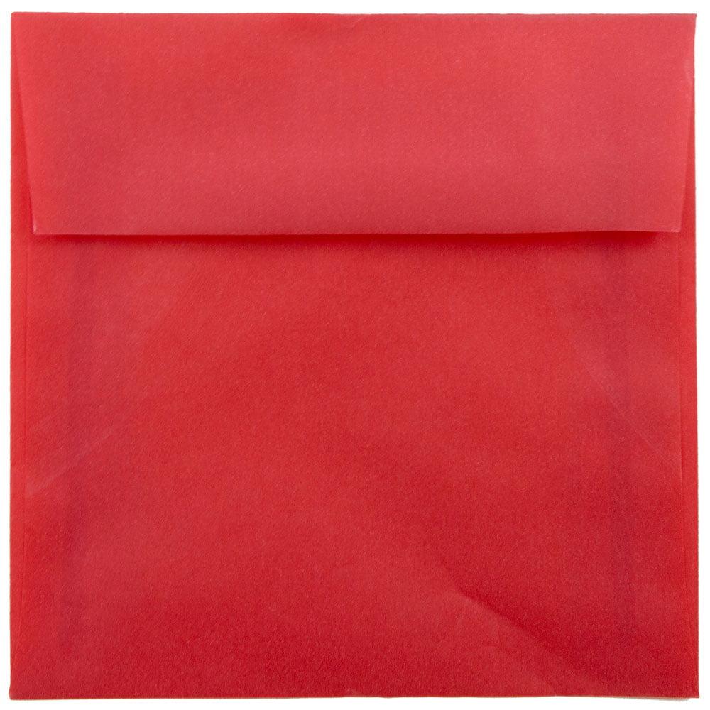 JAM Paper 6 x 6 Square Invitation Envelope, Primary Red Translucent ...