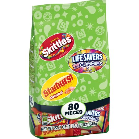 Skittles, Starburst and Life Savers Fun Size Candy Variety Bag, 22.7 ounce, 80 pieces