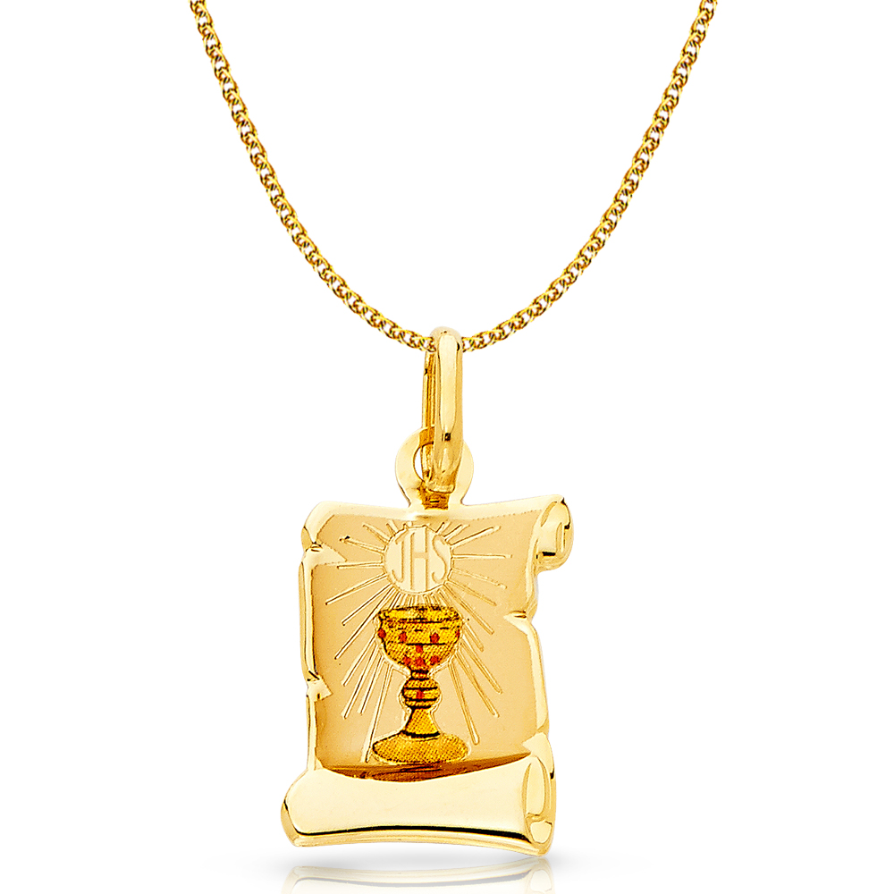 14K Yellow Gold Communion Enamel Picture Girl Charm Pendant with 1.5mm Flat Open Wheat Chain Necklace