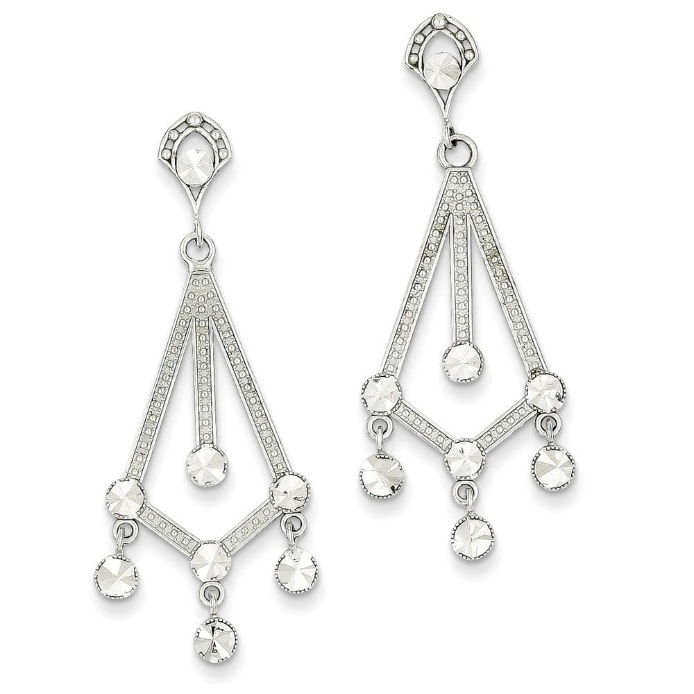 14k White Gold D/C Chandelier Post Earrings (1.7IN x 0.7IN )