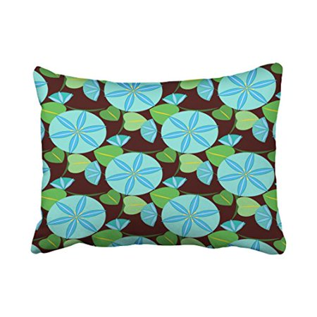 WinHome Multicolor Vivid Flowering Vine Abstract Retro Blue Mint Green Print Pattern Polyester 20 x 30 Inch Rectangle Throw Pillow Covers With Hidden Zipper Home Sofa Cushion Decorative - Mint Blue Color