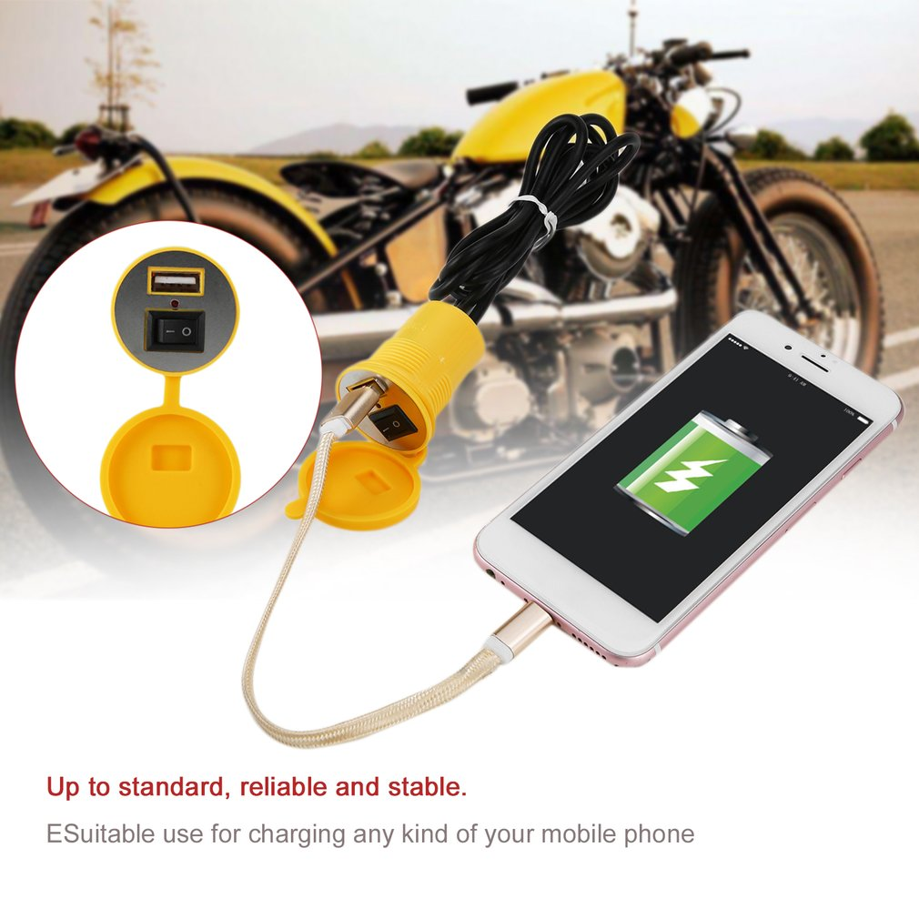 USB Motorcycle Mobile Phone Charger Socket USB Waterproof Power Supply Adapter