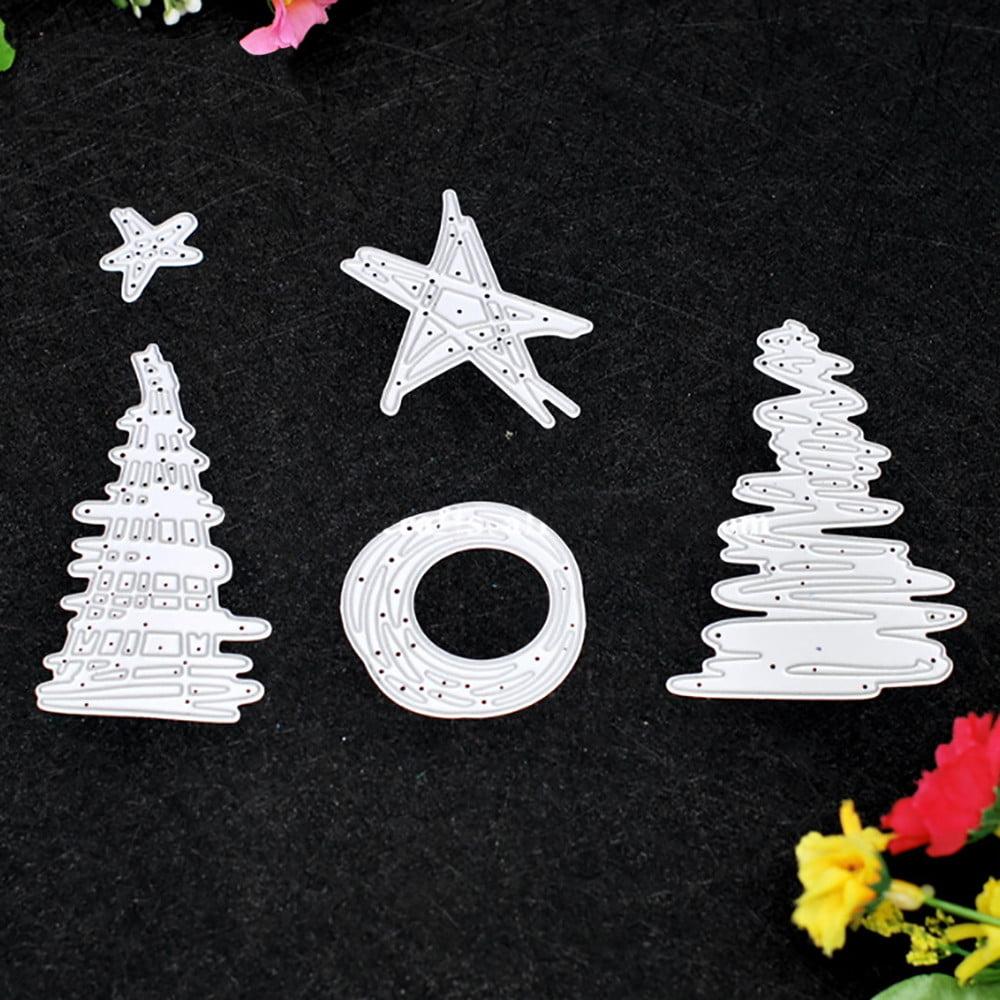 5 Pieces Of Christmas Tree Star Metal Stamping Die Diy Scrapbook
