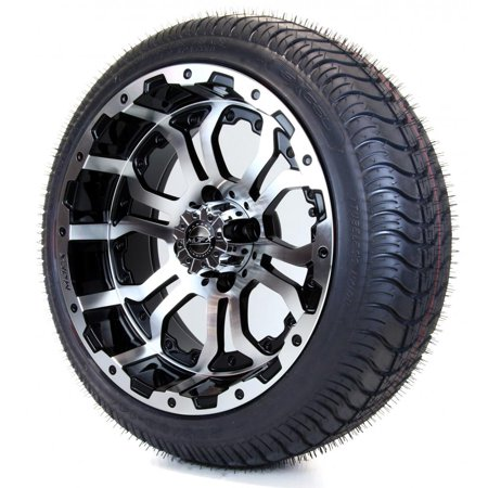 "Golf Cart Wheels and Tires Combo - 14"" Mach/Blk Omega MJFX ..."
