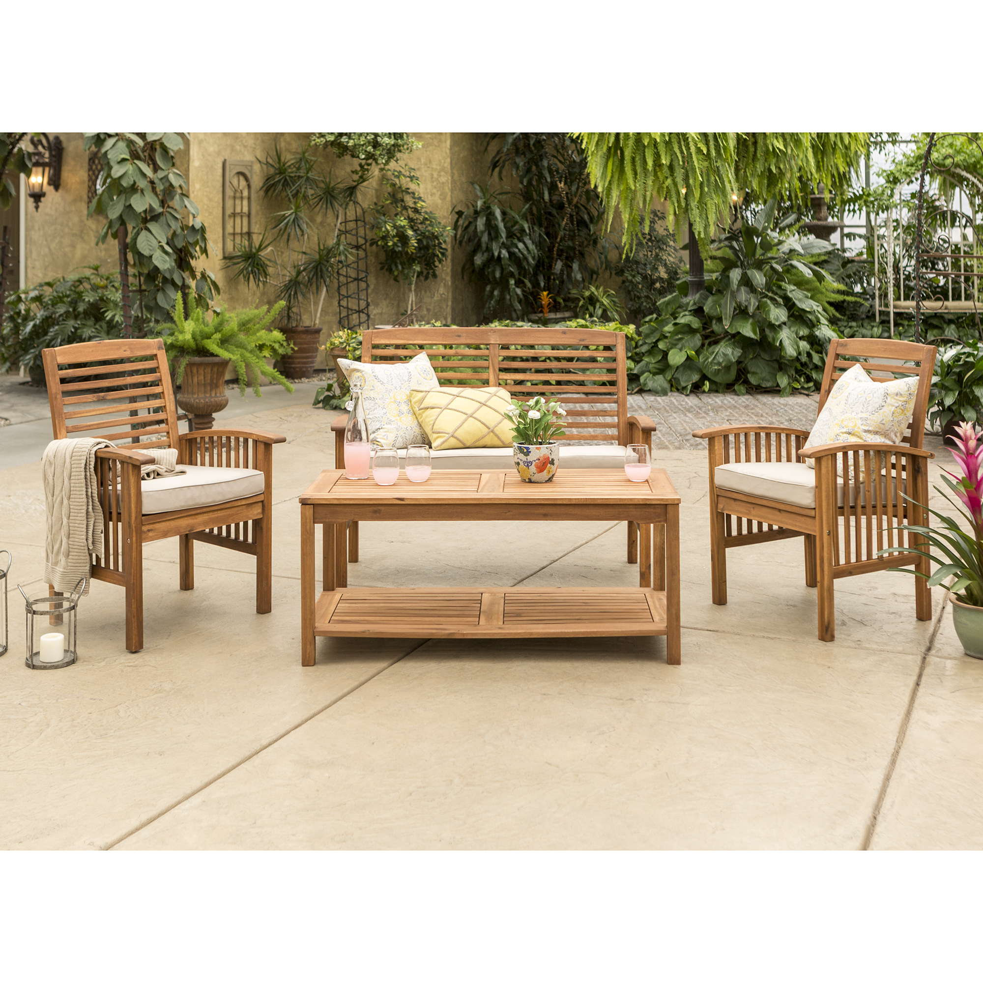 Manor Park 4-Piece Acacia Wood Outdoor Patio Conversation Set - Brown